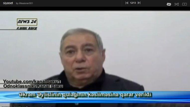 Still van een Azeri nieuwsuitzending met een item over Aylisli. Beeld