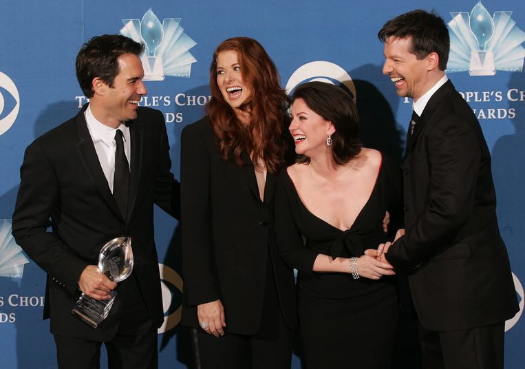 De cast van 'Will & Grace': vlnr Eric McCormack, Debra Messing, Megan Mullally en Sean Hayes