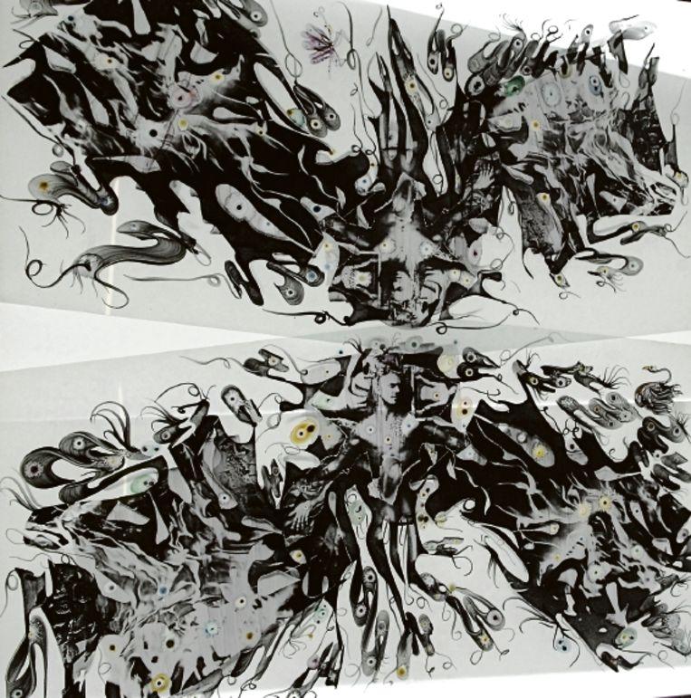 David Beckham staat centraal in het kunstwerk 'The Last Seven Words of Christ' van Marc Mulders. (Trouw) Beeld