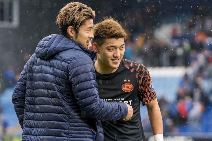Yuta Nakayama (links) kwam zondag tegen PSV niet in actie. Een dag later, met Jong PEC, wel.