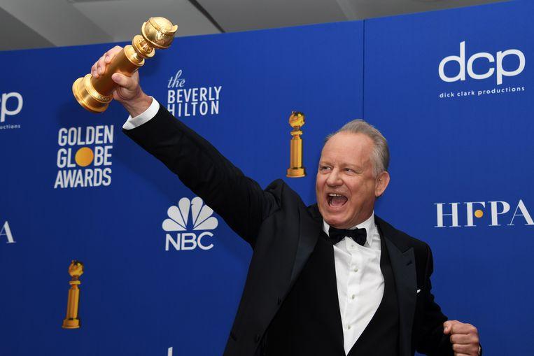 Stellan Skarsgard is overgelukkig met zijn Golden Globe.