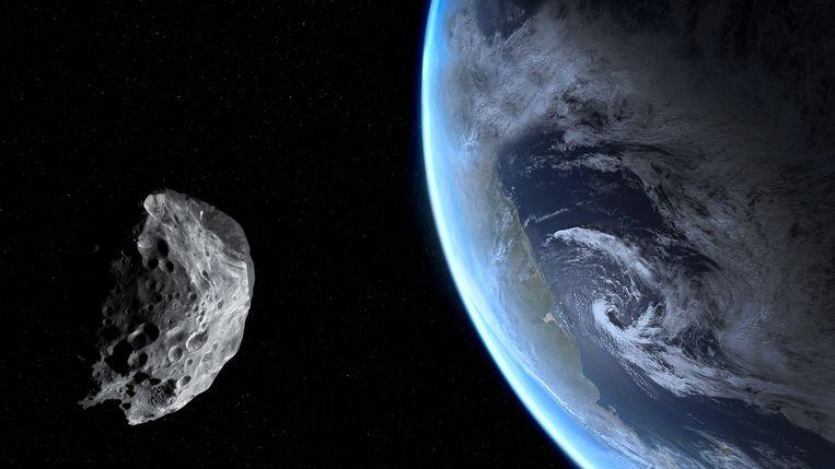 Een illustratief beeld van een asteroïde die langs de Aarde passeert.