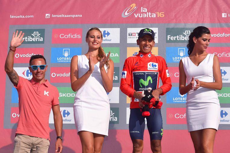 Joaquim Rodriguez groette het Spaanse publiek vandaag op het podium van de Vuelta.
