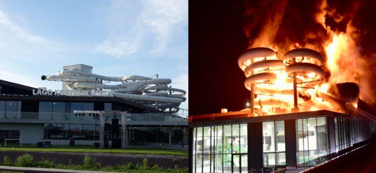 De vijf huidige glijbanen (links), het inferno van een jaar geleden (rechts)