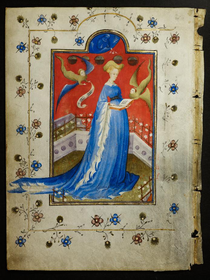 Maria van Gelre liet zich paginagroot afbeelden in haar gebedenboek.