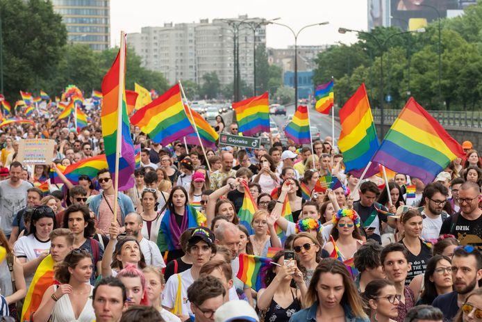 Beeld ter illustratie van de LGBT Pride Parade in Warschau, Polen, op 8 juni 2019.