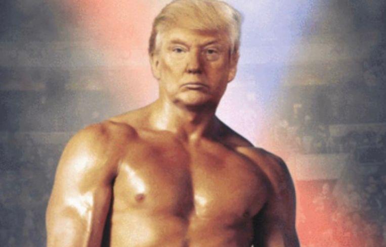 President Donald Trump postte een foto op Twitter, waarop zijn hoofd werd gefotoshopt op het lichaam van filmpersonage Rocky Balboa.