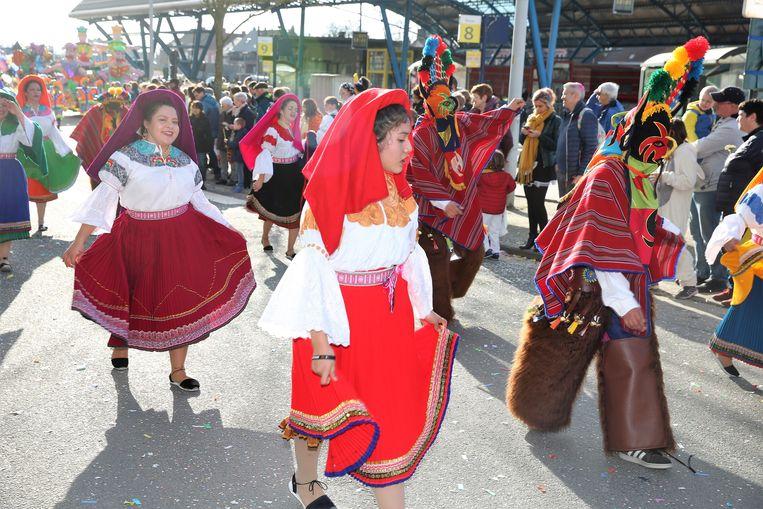 De Bolivianen vorig jaar in de stoet tijdens Carnaval Halle.