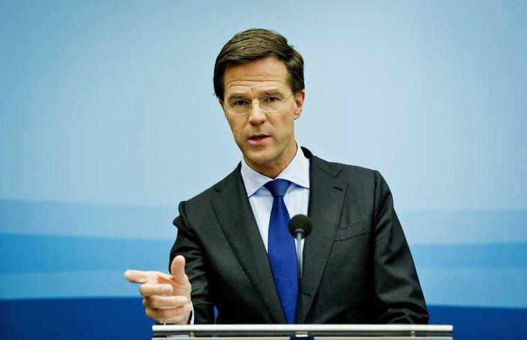 Premier Rutte in perscentrum Nieuwspoort in Den Haag. Beeld anp