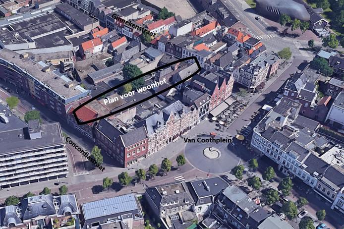 In het gemarkeerde deel zou een hofje moeten komen met 29 appartementen, met ingangen aan de Concordiastraat en aan de Ginnekenstraat (winkelstraat).