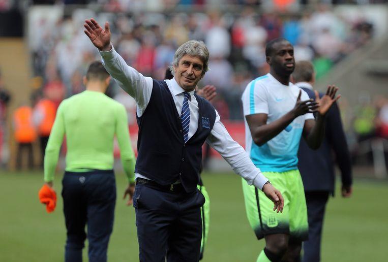 Manuel Pellegrini neemt afscheid van Manchester City. Beeld epa