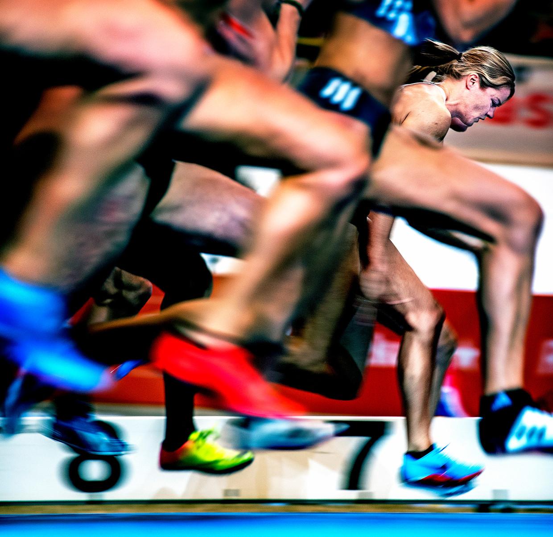 Na 7,18 seconden is Dafne Schippers nationaal kampioen. Beeld Klaas Jan van der Weij