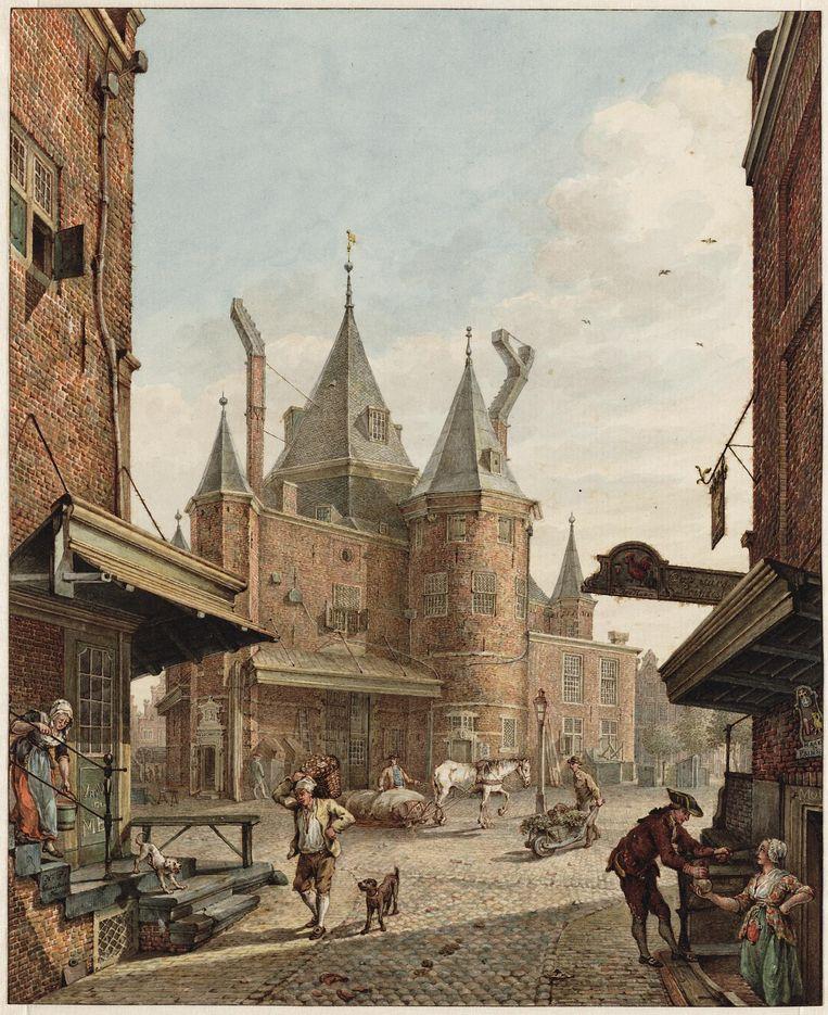 De Waag op de Nieuwmarkt in 1789 gezien vanuit de Bloedstraat, door H.P. Schouten. Beeld Stadsarchief