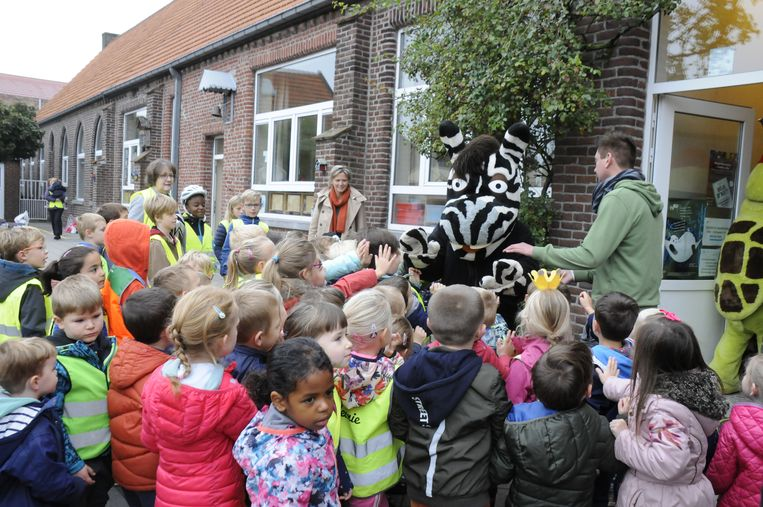 Zeppe & Zikki werden warm onthaald door de leerlingen van basisschool Vroenhof Kumtich.