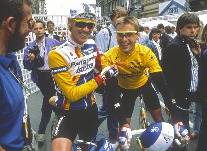 Erik Breukink in zijn gele trui met Eric Vanderaerden.