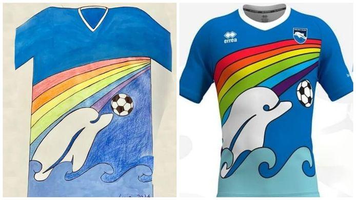 De 6-jarige Luigi ontwierp het nieuwe shirt van Pescara