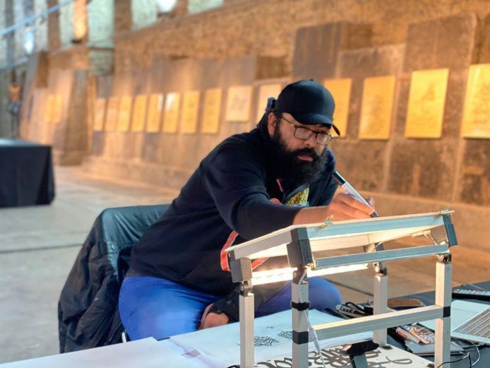 Hamza Abu Ayyash aan het werk.