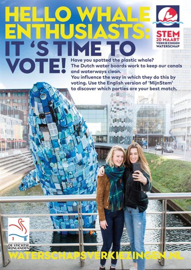 Een poster moet niet-Nederlanders wijzen op hun stemrecht. Beeld rv