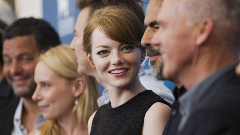 Emma Stone te midden van de cast van Birdman. Beeld null