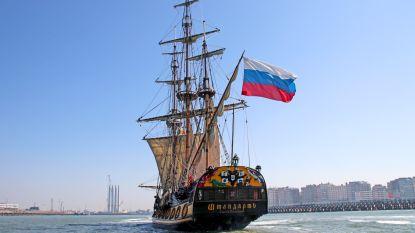 Russisch fregat arriveert voor Oostende voor Anker