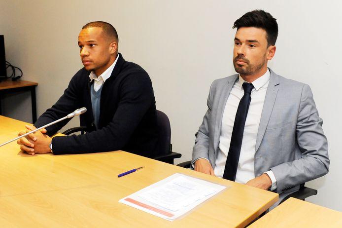 Sebastien Ronse (r) hier als advocaat van AA Gent samen met Vadis voor de Geschillencommissie van de KBVB.