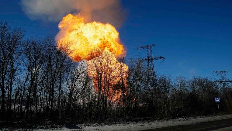 Een ontploffing bij de Oekraïense stad Debaltseve.