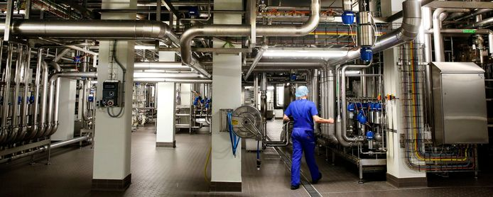 De melkpoederfabriek van Vreugdenhil Dairy Foods in Gorinchem. Het bedrijf bouwde in 2016 een compleet nieuwe fabriek naast de bestaande.