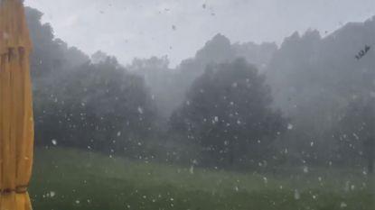 VIDEO. Hevige hagelbui trekt over Tienen