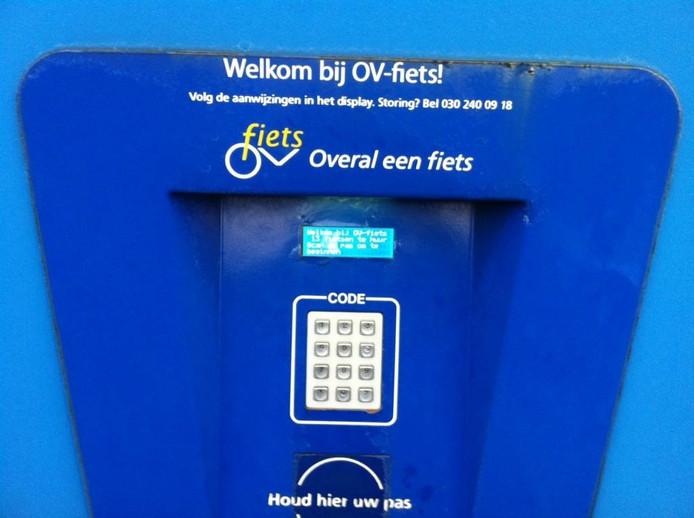 Het 'slot' van de stalling OV-fiets in Cuijk.