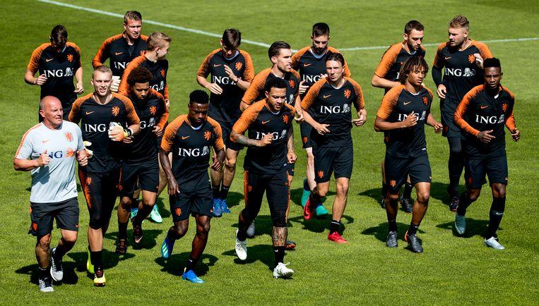 Oranje traint in aanloop naar de oefeninterlands tegen Slowakije en Italië. Beeld ANP