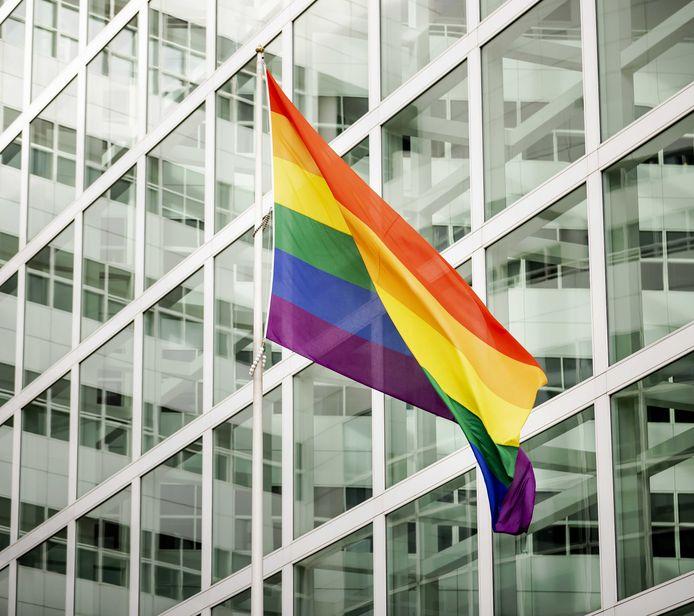 Een grote regenboogvlag bij het stadhuis van Den Haag op archiefbeeld. De vlag is het symbool van Coming Out Day, de dag voor de acceptatie van mensen met een andere seksuele geaardheid of genderidentiteit.