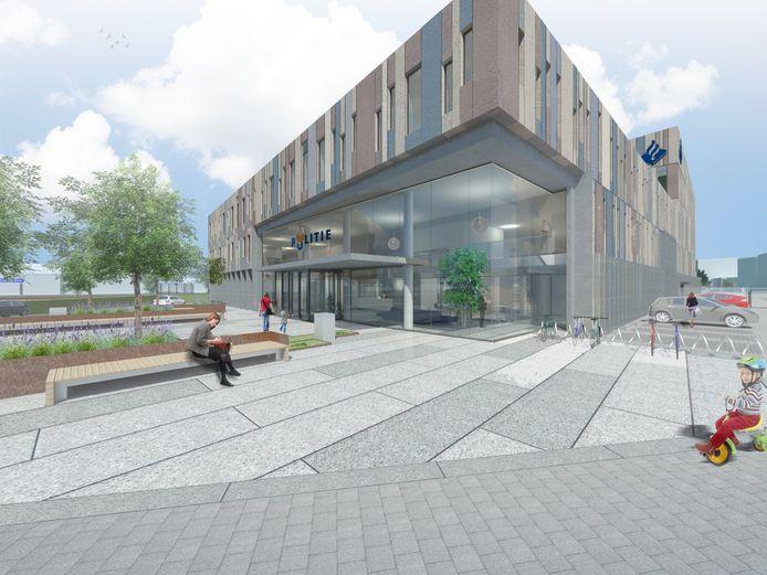 Impressie van het nieuwe politiebureau in Bergen op Zoom, dat ook ontworpen is door architectenbureau Van Pelt.