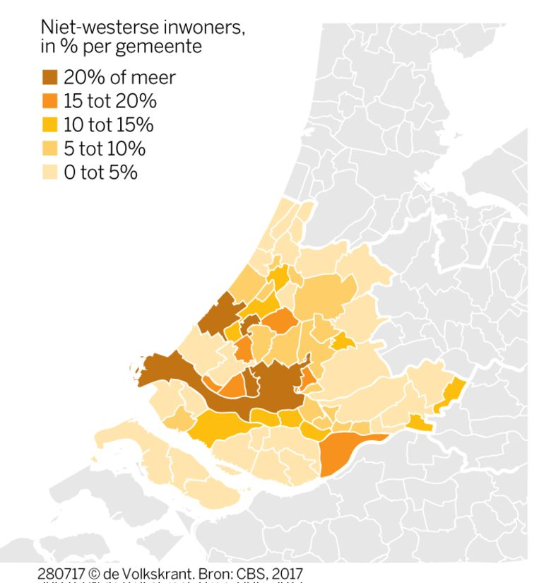 Niet-westerse inwoners in percentage per gemeente Beeld null
