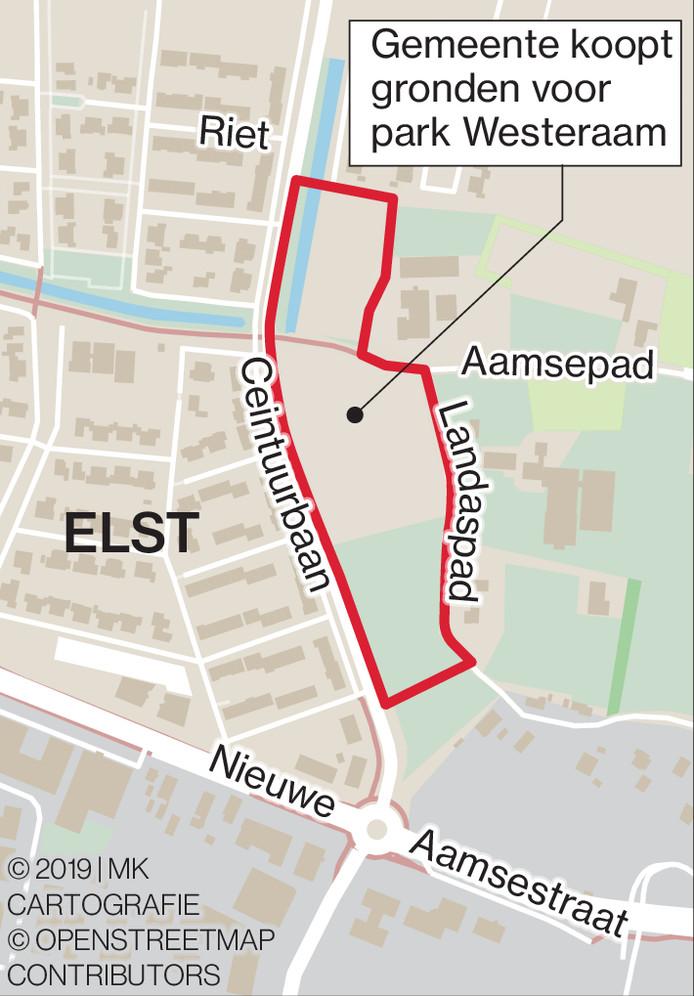 De aankoop van grond voor een park in Westeraam was voor D66 en GBO reden om het grondbeleid van de gemeente Overbetuwe opnieuw te willen bespreken.