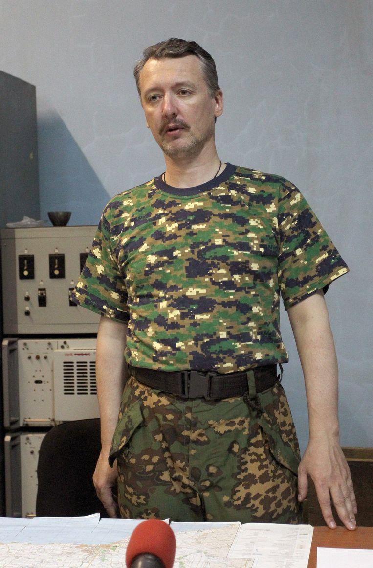 Strelkov eind juli, in zijn tijd als rebellenleider in Oost-Oekraïne. Beeld EPA