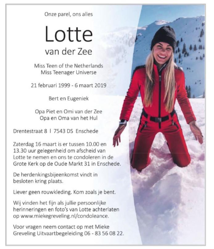 De rouwadvertentie voor Lotte.