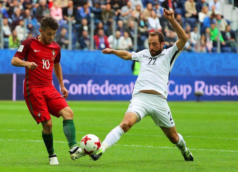 Bernardo Silva in actie tegen Nieuw Zeeland. Beeld epa
