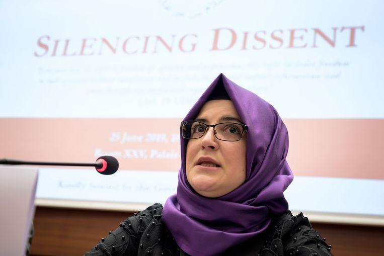 Hatice Cengiz, de verloofde van de vermoorde Saudische journalist Jamal Khashoggi.