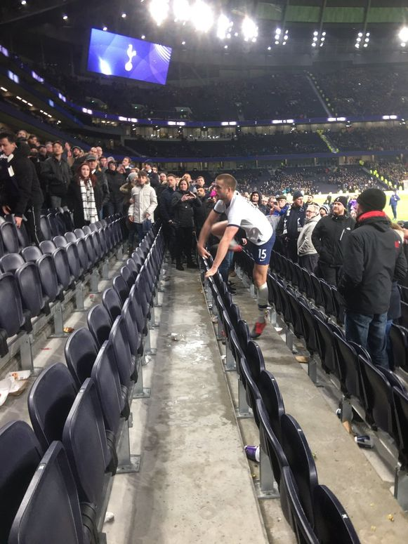 Eric Dier confronts angry fan after Tottenham - Norwich in the FA Cup.