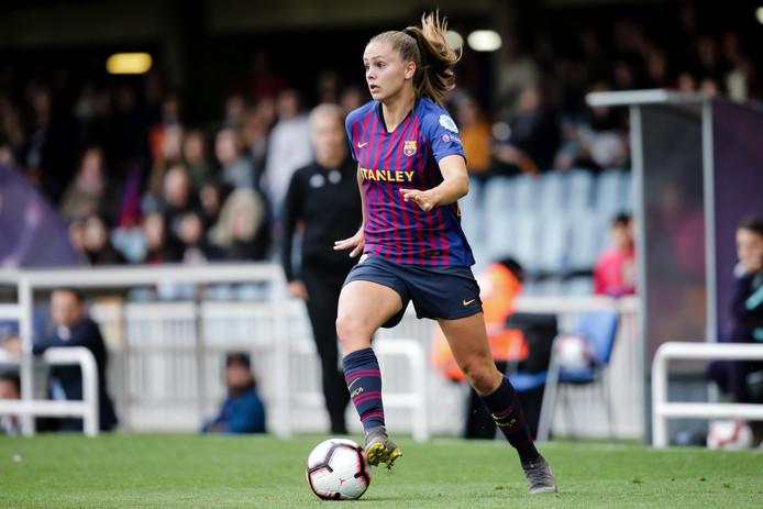 Lieke Martens in actie voor FC Barcelona, waarmee ze vanavond de Champions League wil winnen.