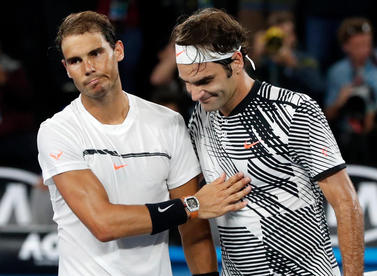 Rafael Nadal feliciteert Roger Federer