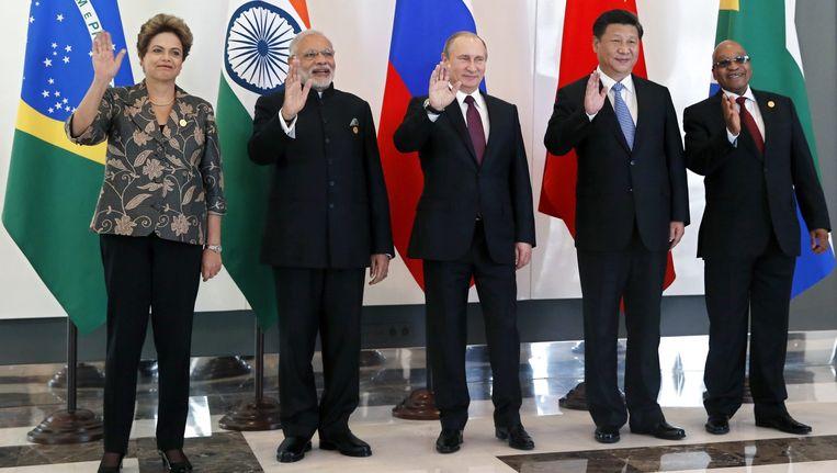 De leiders van de Bric-landen tijdens de G20-top in Antalya. Beeld anp