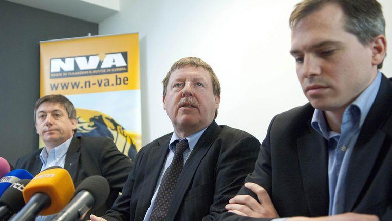 Fractieleider Jan Jambon, kamerlid Siegfried Bracke en parlementslid Matthias Diependaele van de N-VA. © ANP Beeld