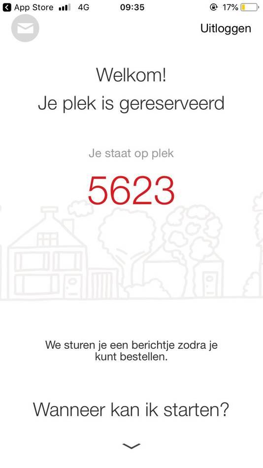 Wie in Rotterdam klant wil worden bij Picnic moet nog even geduld hebben, meldt de Picnic-app.