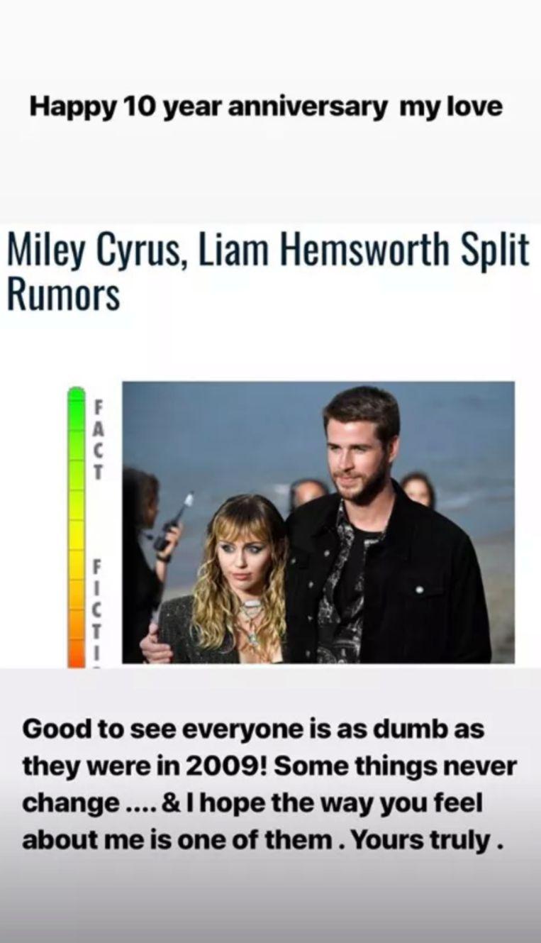 Miley en Liam zijn 10 jaar samen.