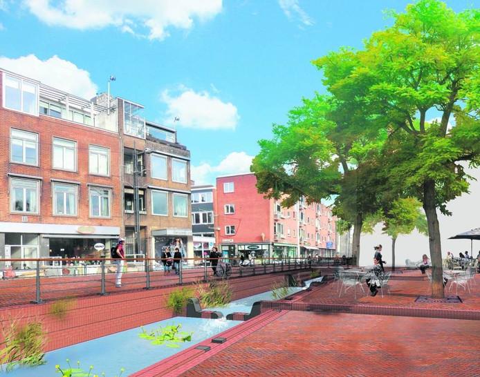 Impressie van de Jansbeek op het Kerkplein in Arnhem. Illustratie Poelmans Reesink