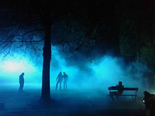 De filmopnames in het stadspark.
