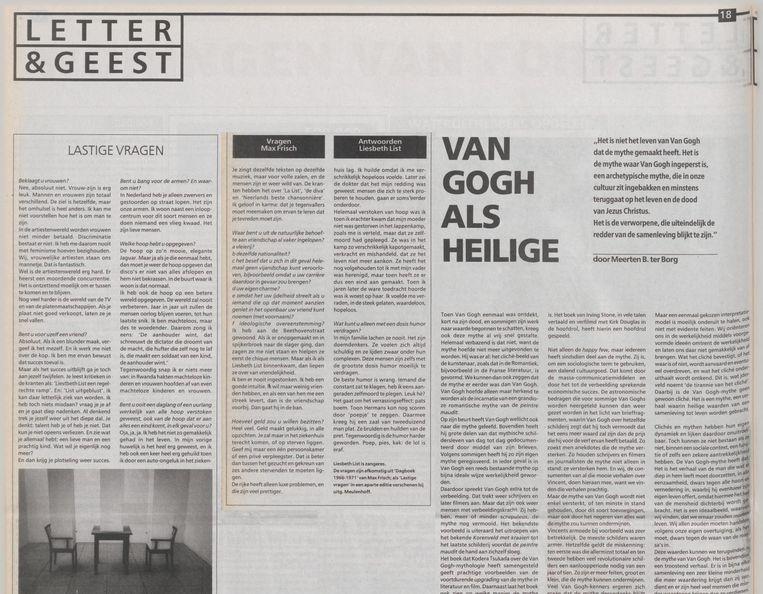 De rubriek 'Lastige Vragen' verscheen in 1995 in Letetr&Geest. Beeld Trouw