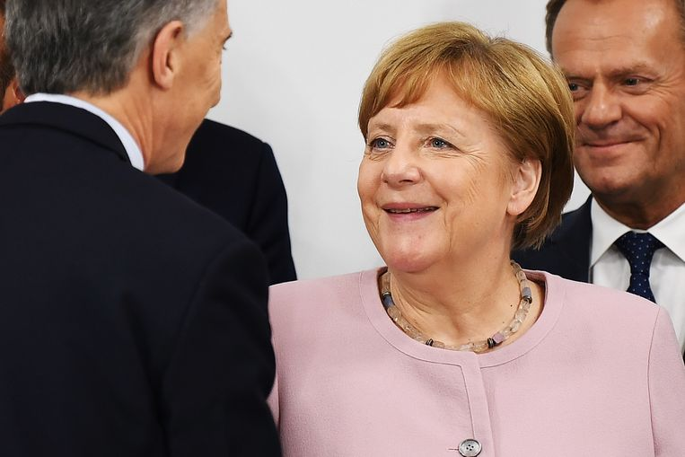 Angela Merkel in Osaka, Japan.  Beeld AFP