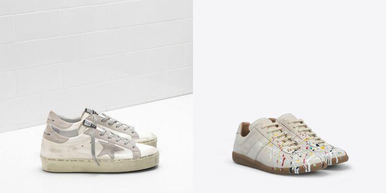 Links de sneakers van Golden Goose, rechts die van Maison Margiela.